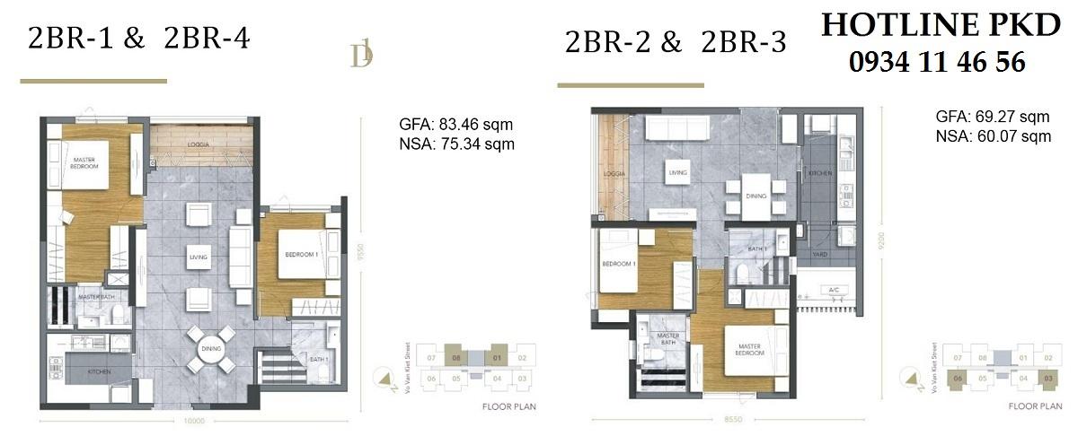Thiết kế căn hộ 2PN D1 Mension