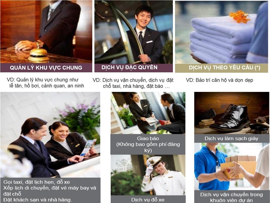 Các dịch vụ do The Ascott Limited cung cấp khi quản lý khu căn hộ cao cấp.