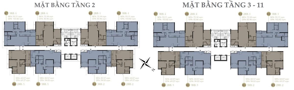 Mặt bằng tầng 2-11 dự án căn hộ cao cấp D1 Mension CapitaLand Võ Văn Kiệt Quận 1