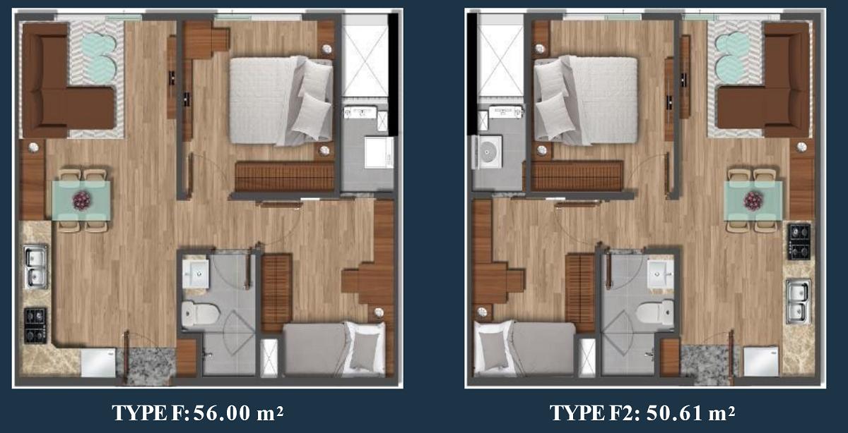 Thiết kế căn hộ Akari 2PN-1WC