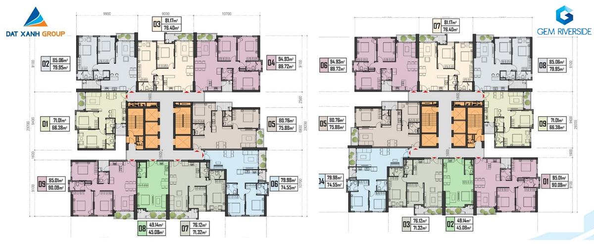 Mặt bằng căn hộ điển hình dự án Gem Quận 2