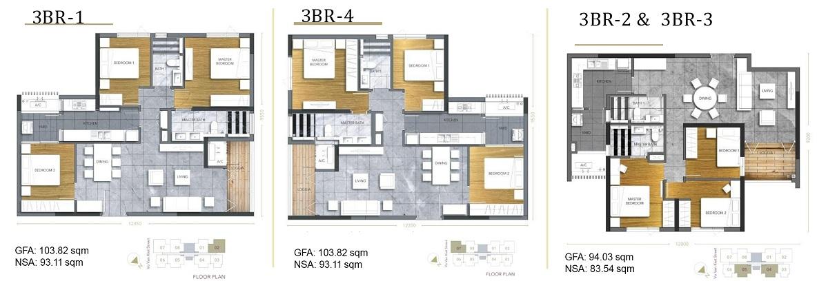 Thiết kế căn hộ 3PN D1 Mension Võ Văn Kiệt Quận 1