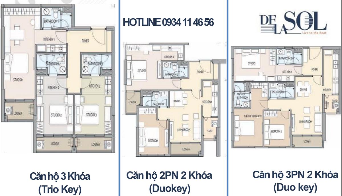 Thiết kế căn hộ duo key dự án Delasol quận 4