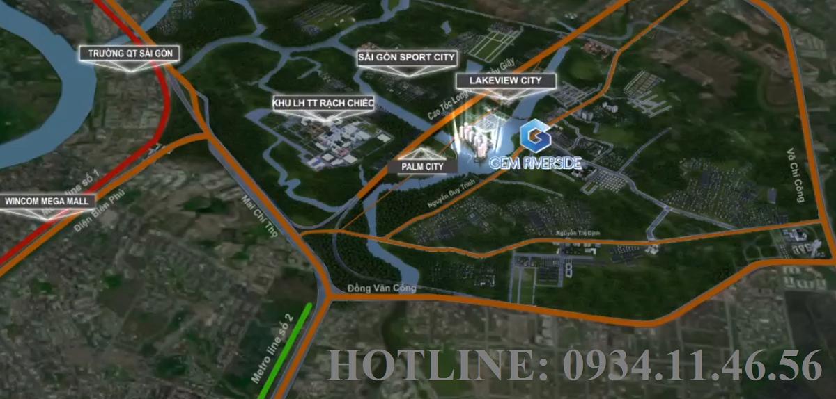 Vị trí dự án căn hộ cao cấp Gem Riverside Quận 2
