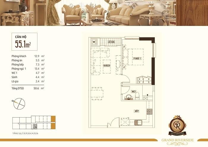 Thiết kế căn hộ 55,1 m2 Grand Riverside