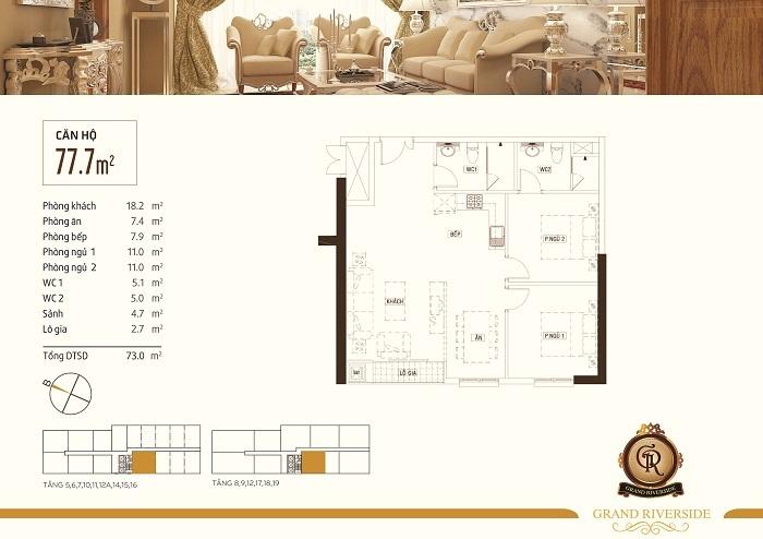 Thiết kế căn hộ 77,7 m2 Grand Riverside