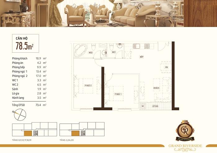 Thiết kế căn hộ 78,5 m2