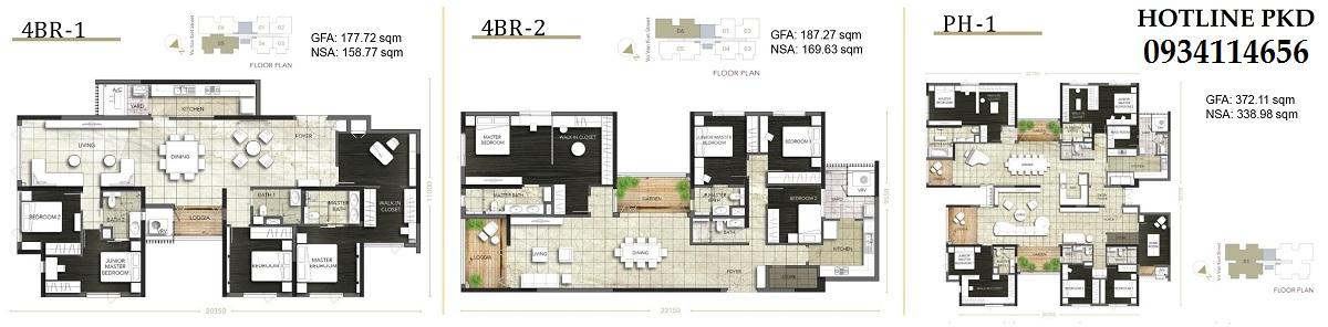 Thiết kế căn hộ 4PN và Penthouse D1 Mension